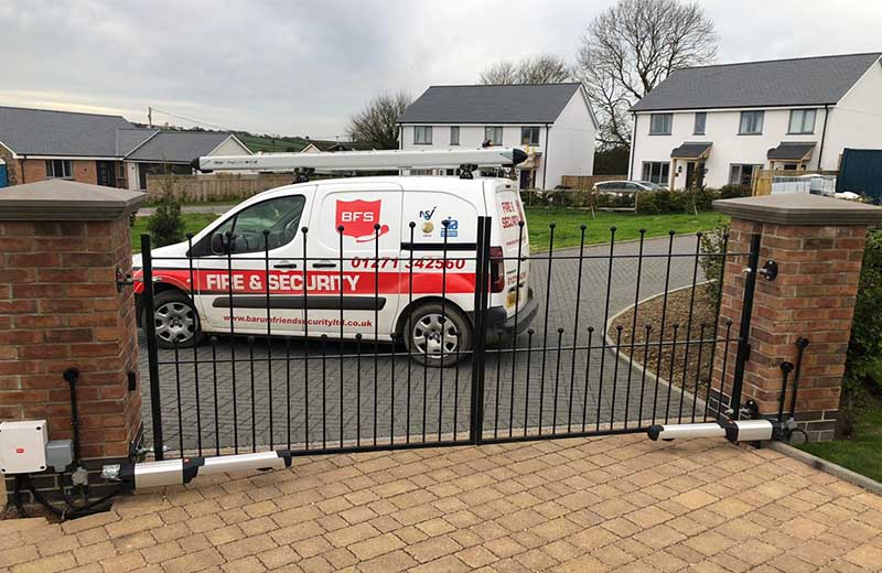 Barum Friend Security van outside home with newly installed electric gates